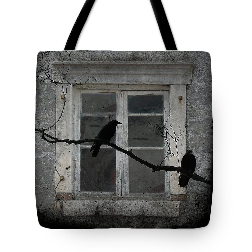 Crows Outside Tote Bag featuring the photograph Window Dressing by Gothicrow Images