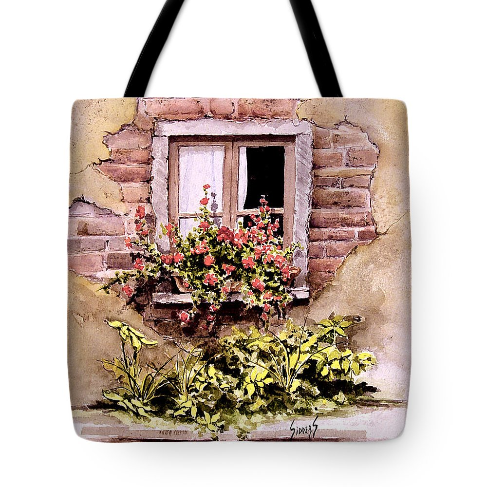 Window Tote Bag featuring the painting Window Flowers by Sam Sidders