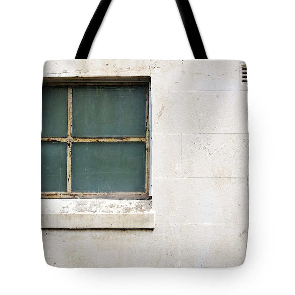 Concrete Wall Tote Bag featuring the photograph Window On Concrete by Tim Hester