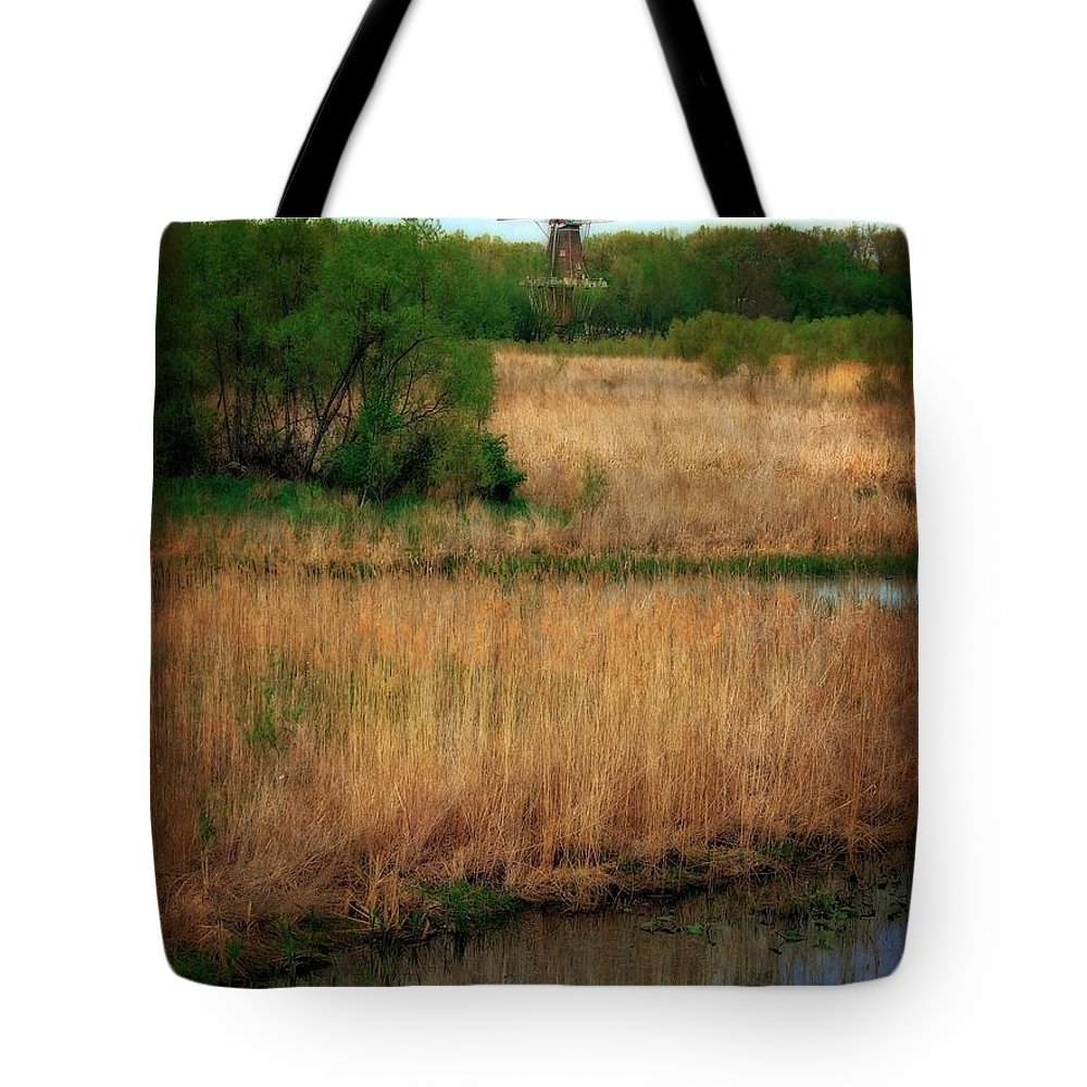 Windmill Island Tote Bag featuring the photograph Window On The Waterfront Dezwaan Windmill by Michelle Calkins