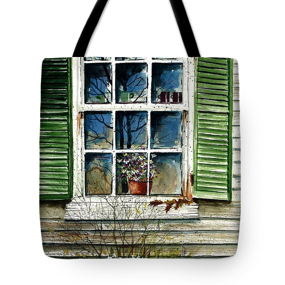 Window Flowers Tote Bag featuring the painting Window Reflections by Steven Schultz