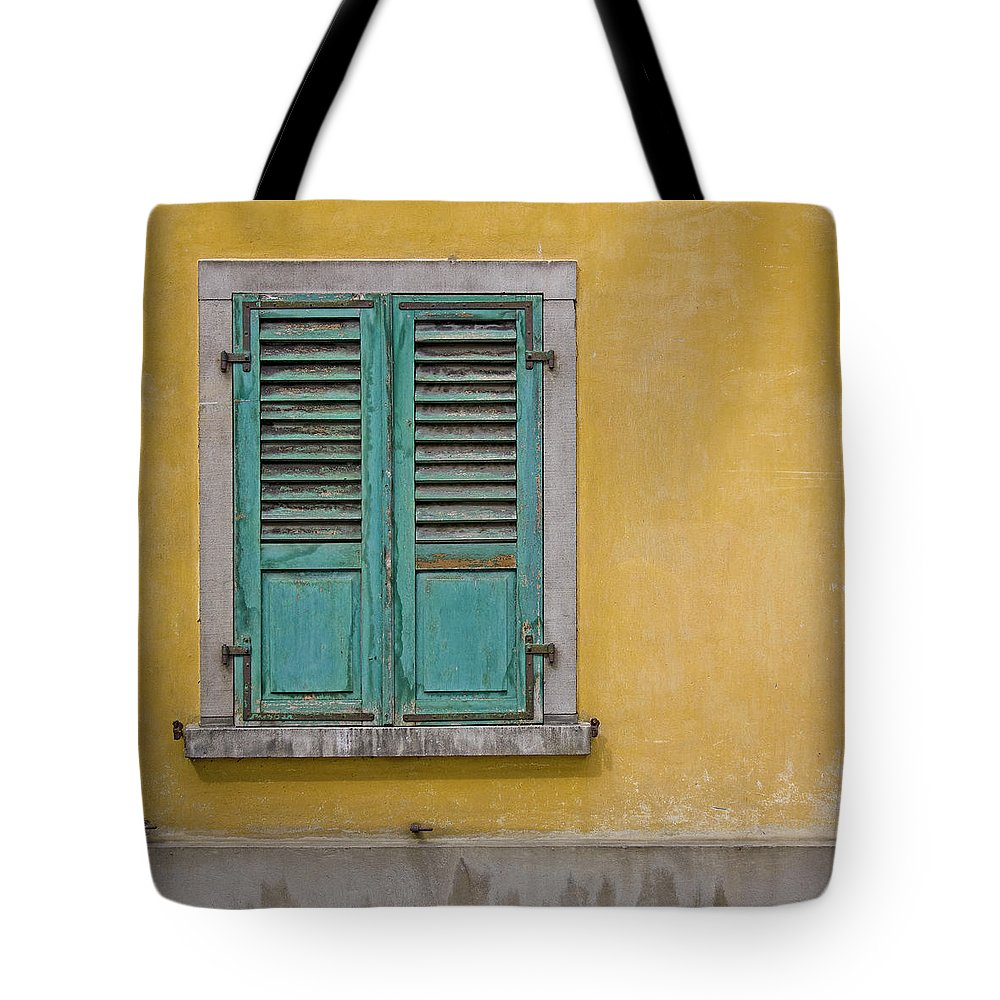 Window Tote Bag featuring the photograph Window Shutter by Heiko Koehrer-Wagner