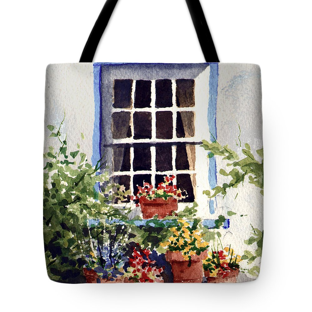 Window Tote Bag featuring the painting Window With Blue Trim by Sam Sidders