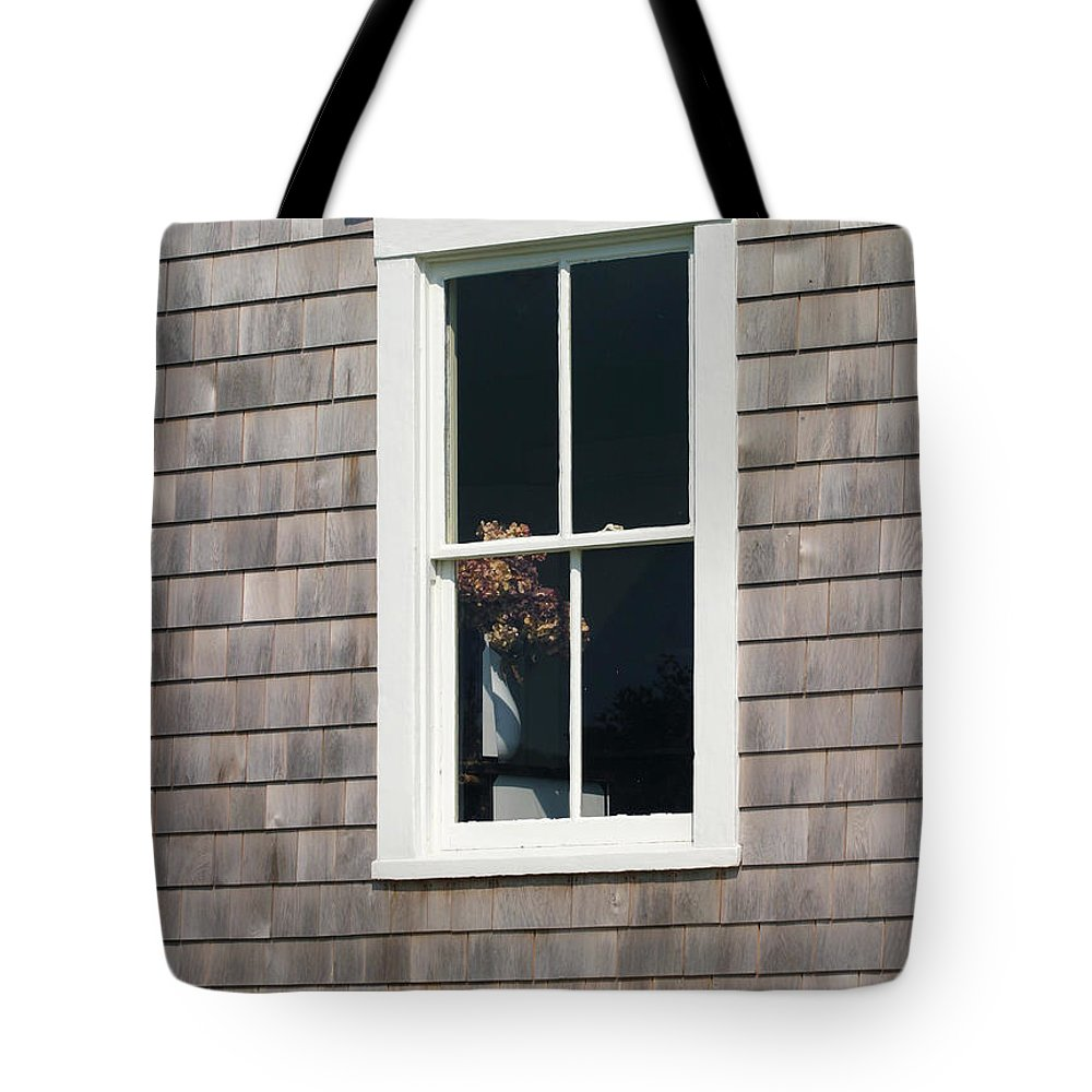 Window With Hydrangea Tote Bag featuring the photograph Window With Hydrangea On The Vineyard by Michelle Constantine