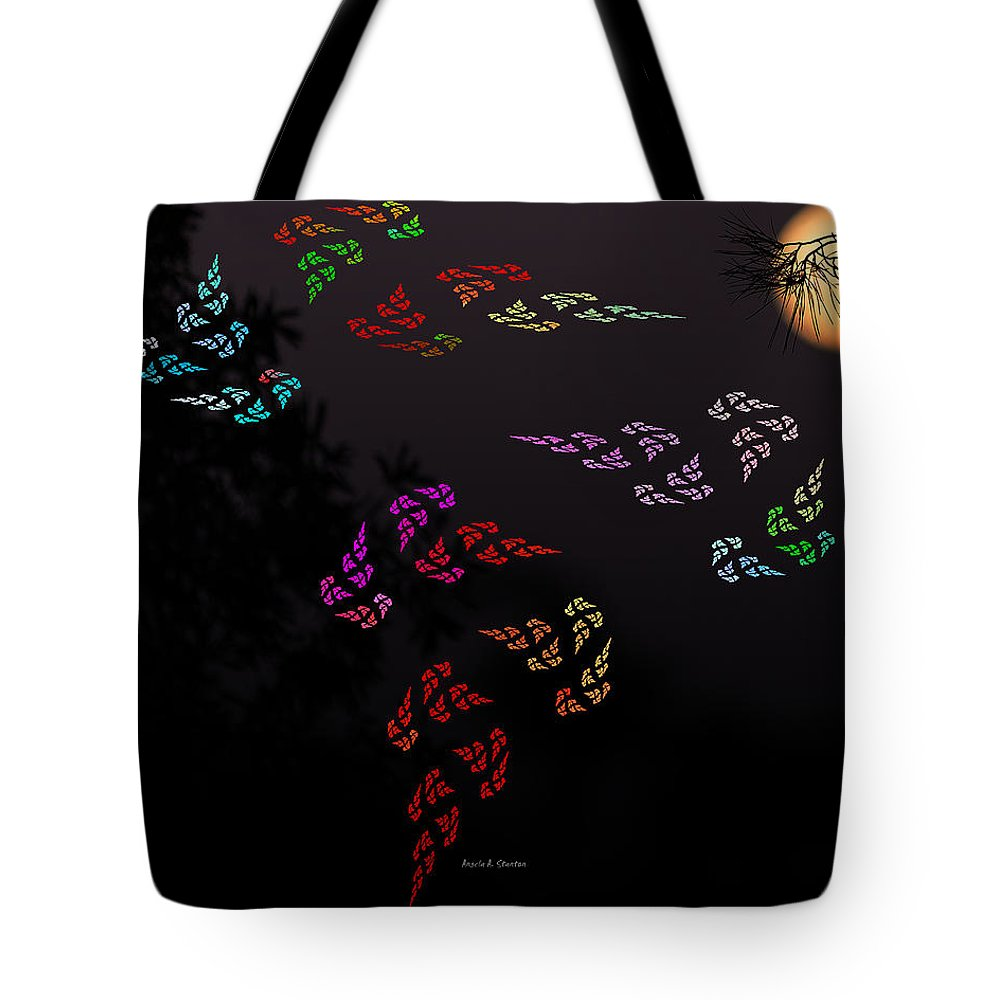 Super Moon Tote Bag featuring the mixed media Windows Of Secrets by Angela Stanton
