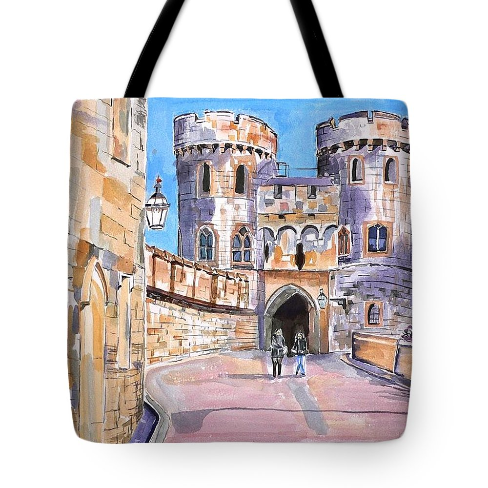 Windsor Castle Tote Bag featuring the painting Windsor Castle by Geeta Biswas