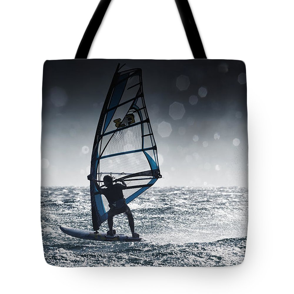 Adventure Tote Bag featuring the photograph Windsurfing With Water Drops On Camera by Ben Welsh