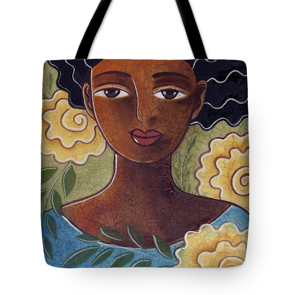 Woman Tote Bag featuring the painting Windswept with roses by Elaine Jackson