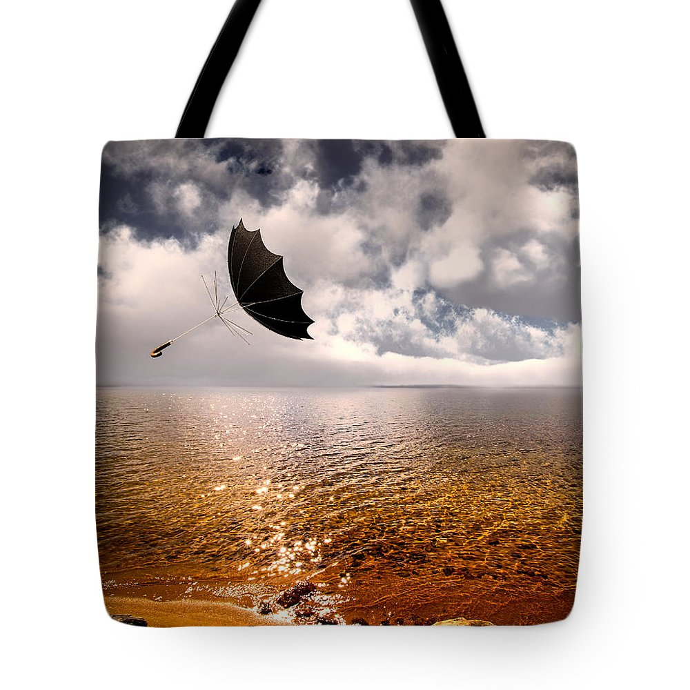 Umbrella Tote Bag featuring the photograph Windy by Bob Orsillo