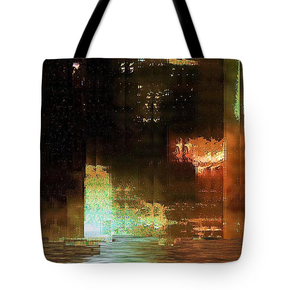 Abstract Tote Bag featuring the painting Windy City Night by RC DeWinter