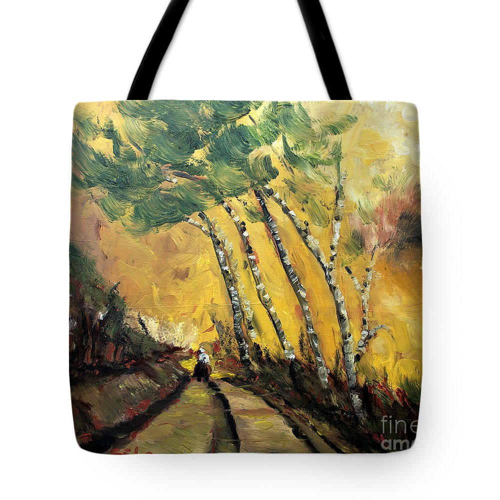 Rural Tote Bag featuring the painting Windy Countryside Day by Lidija Ivanek - SiLa