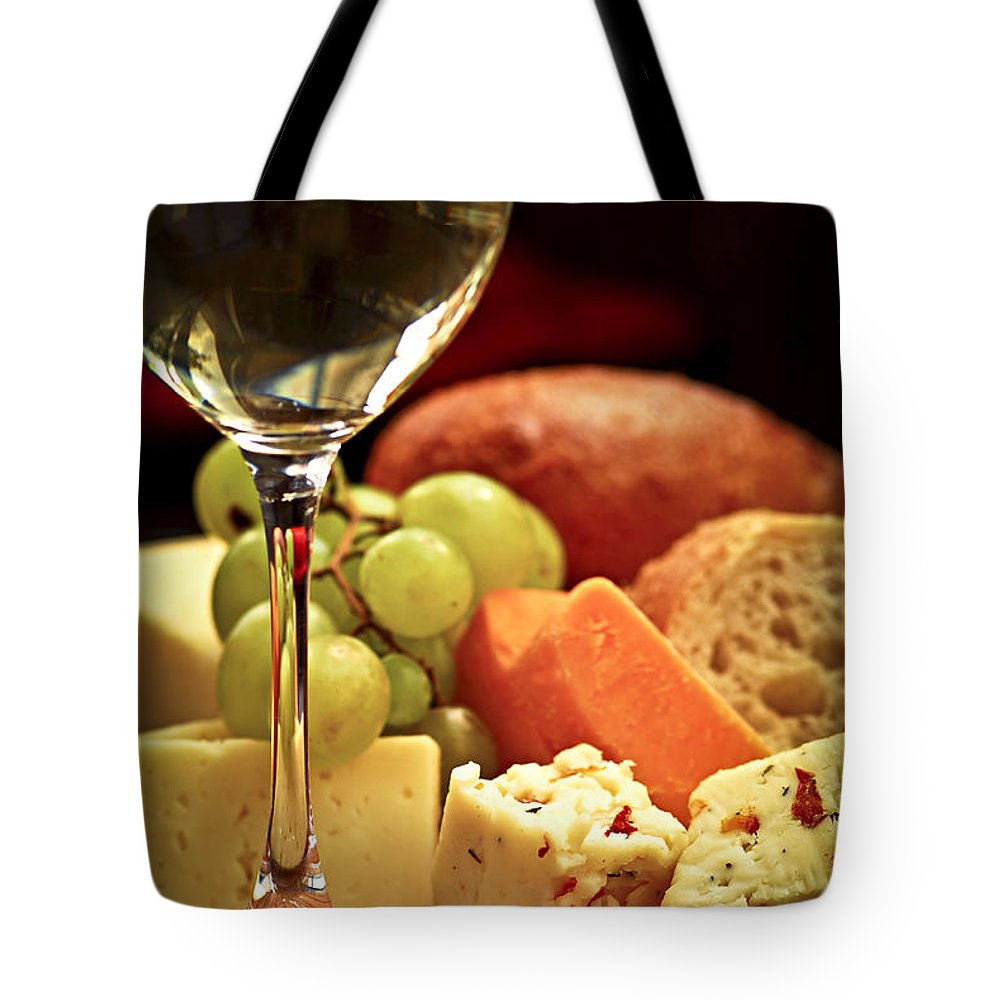 Cheese Tote Bag featuring the photograph Wine And Cheese by Elena Elisseeva