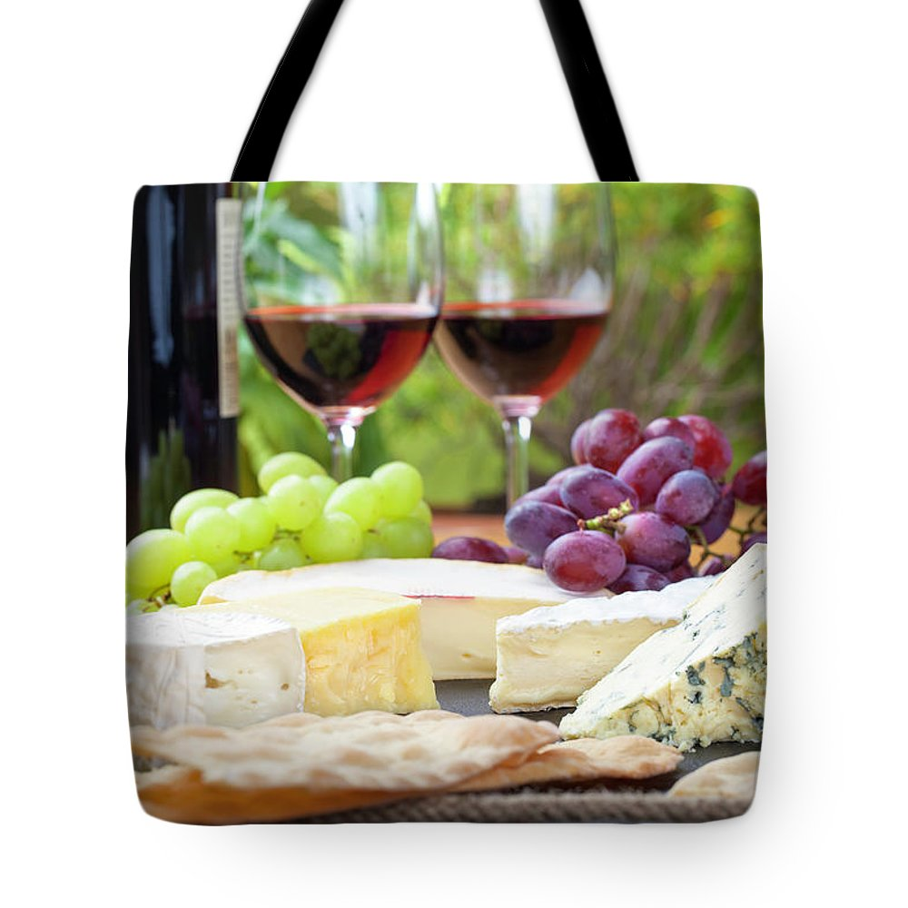 Cheese Tote Bag featuring the photograph Wine And Cheese Platter by Nicolamargaret