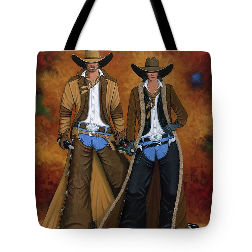 Cowgirl Tote Bag featuring the painting Wine And Roses by Lance Headlee