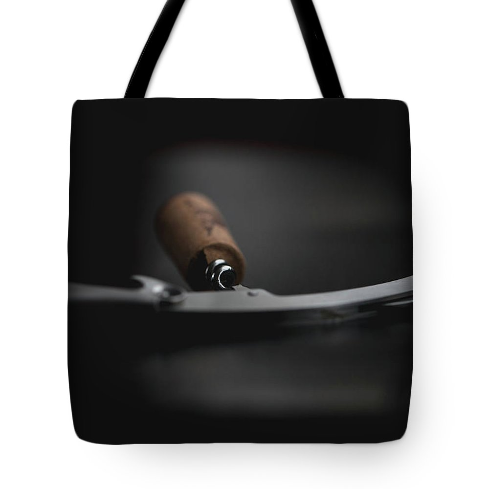 Wine Cork Tote Bag featuring the photograph Wine Bottle Opener With Cork by Stacy Vitallo