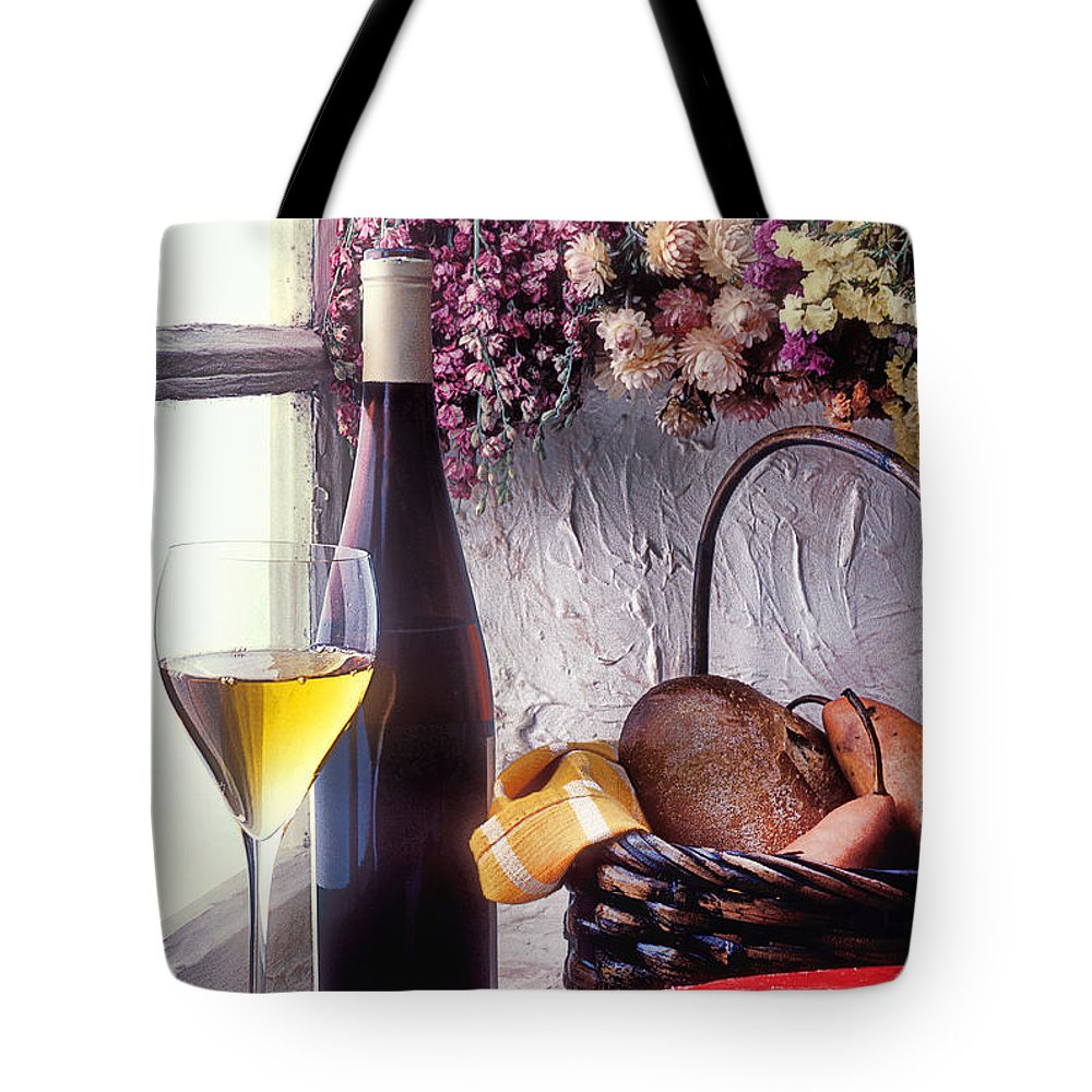 White Tote Bag featuring the photograph Wine Bottle With Glass In Window by Garry Gay