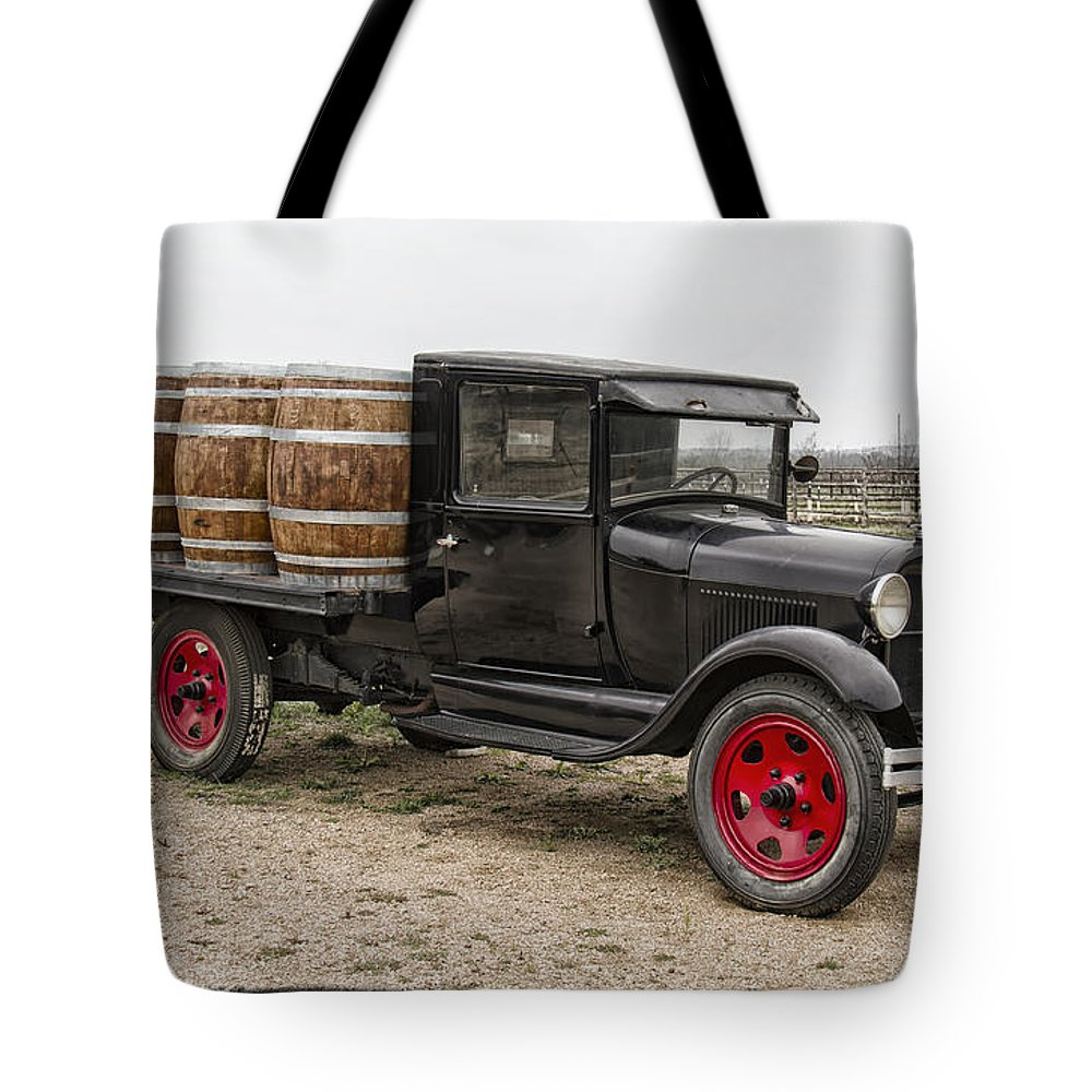 Wine Barrel Tote Bag featuring the photograph Wine Delivery Truck by Debby Richards