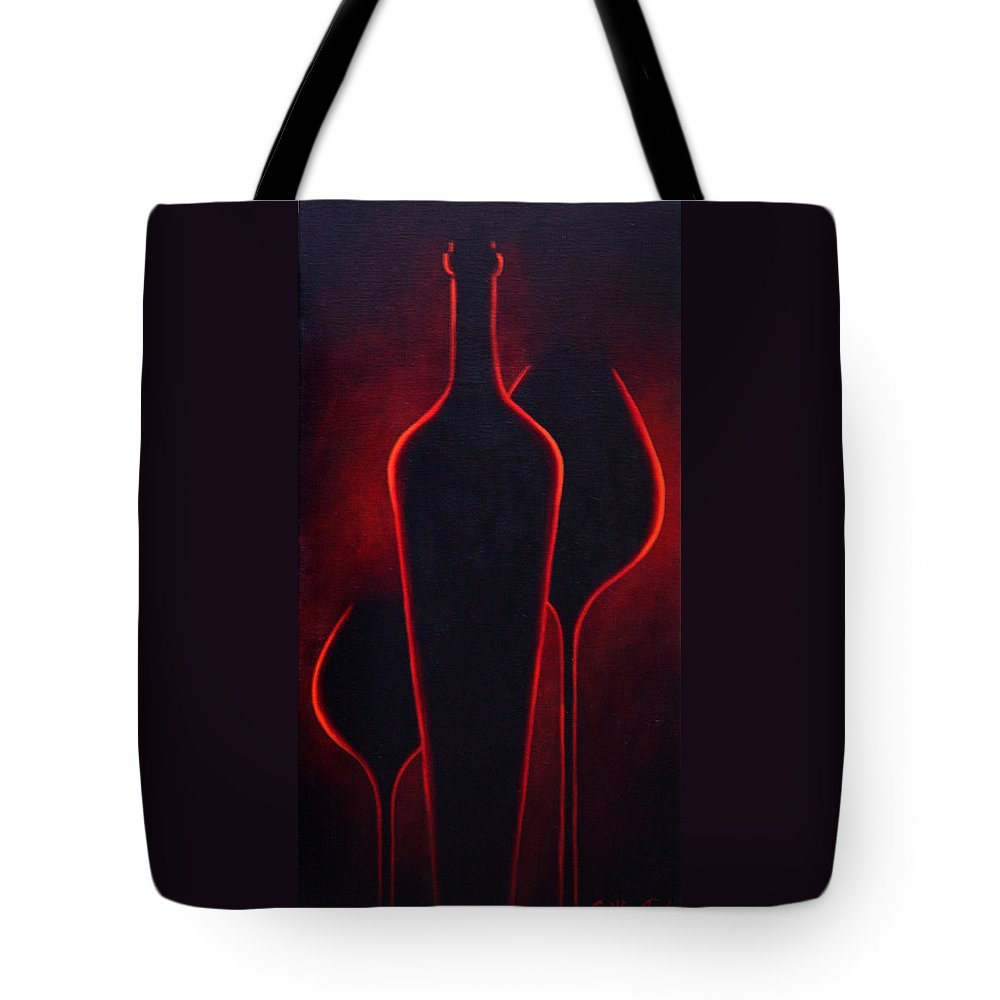 Abstract Tote Bag featuring the painting Wine Glow by Sandi Whetzel