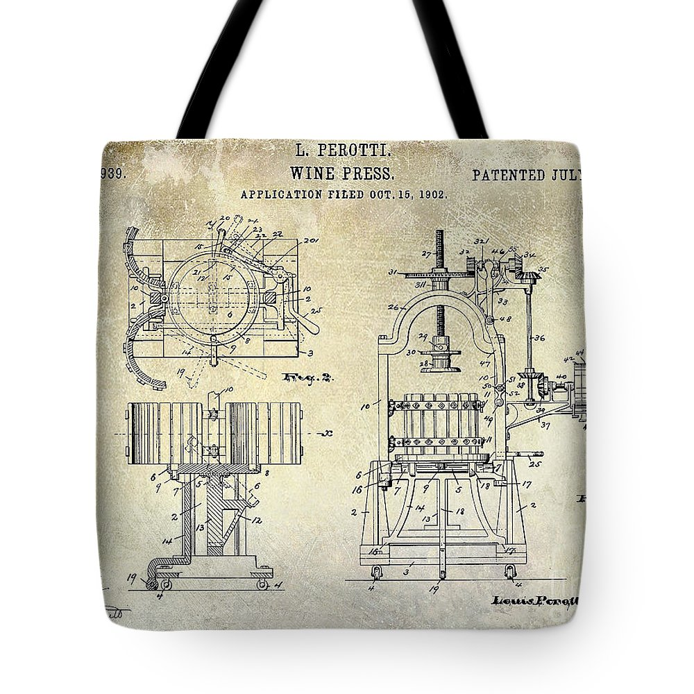 Wine Press Patent Drawing Tote Bag featuring the photograph Wine Press Patent 1903 by Jon Neidert