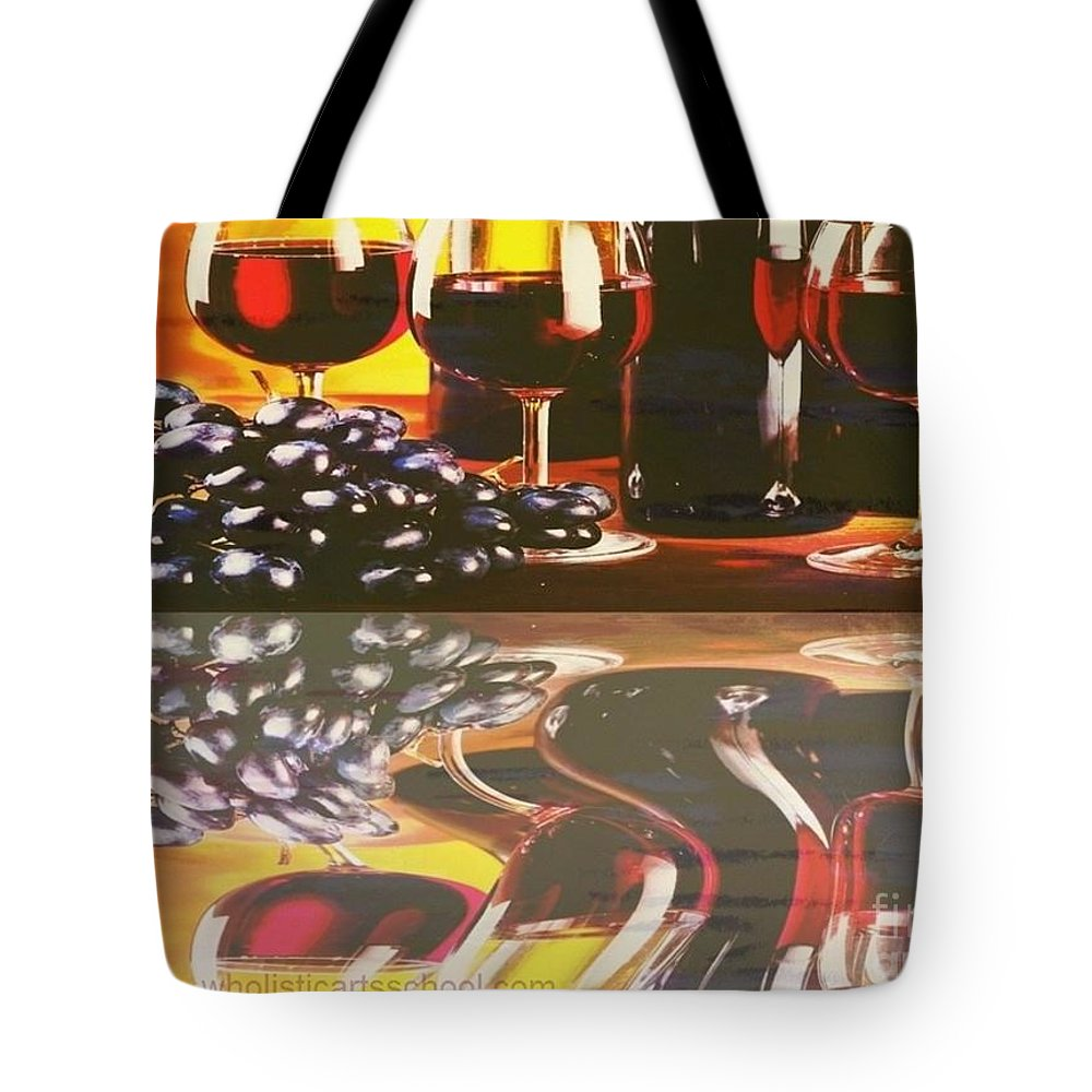 Wine Tote Bag featuring the painting Wine Reflections by PainterArtist FIN