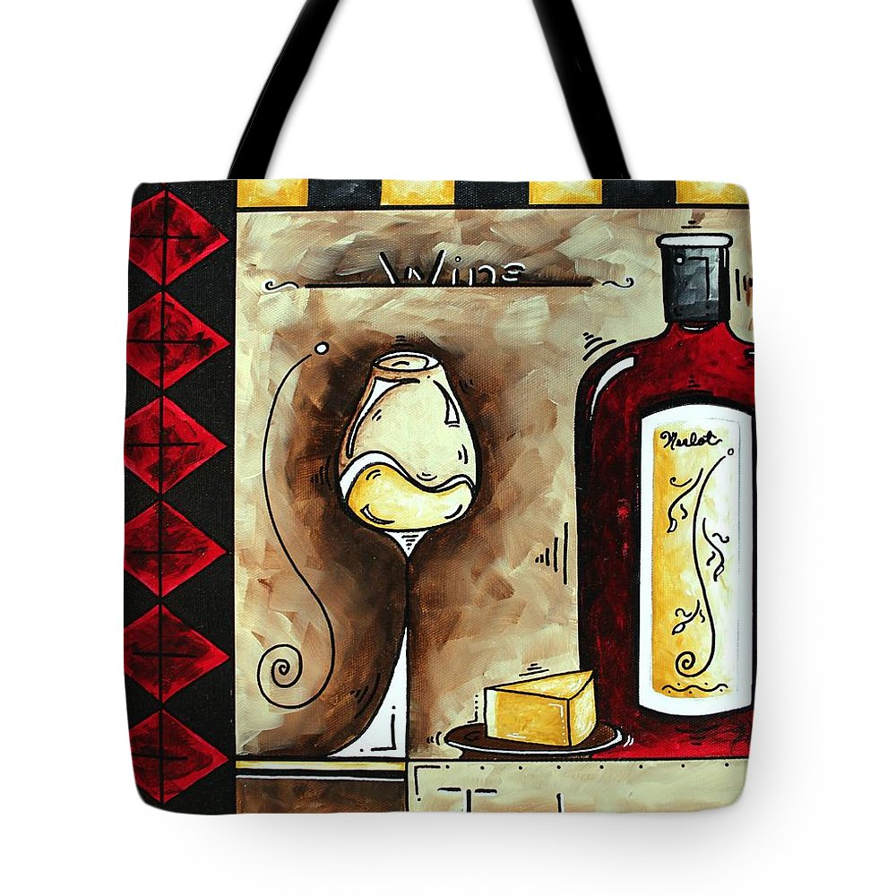 Art Tote Bag featuring the painting Wine Tasting Original Madart Painting by Megan Duncanson