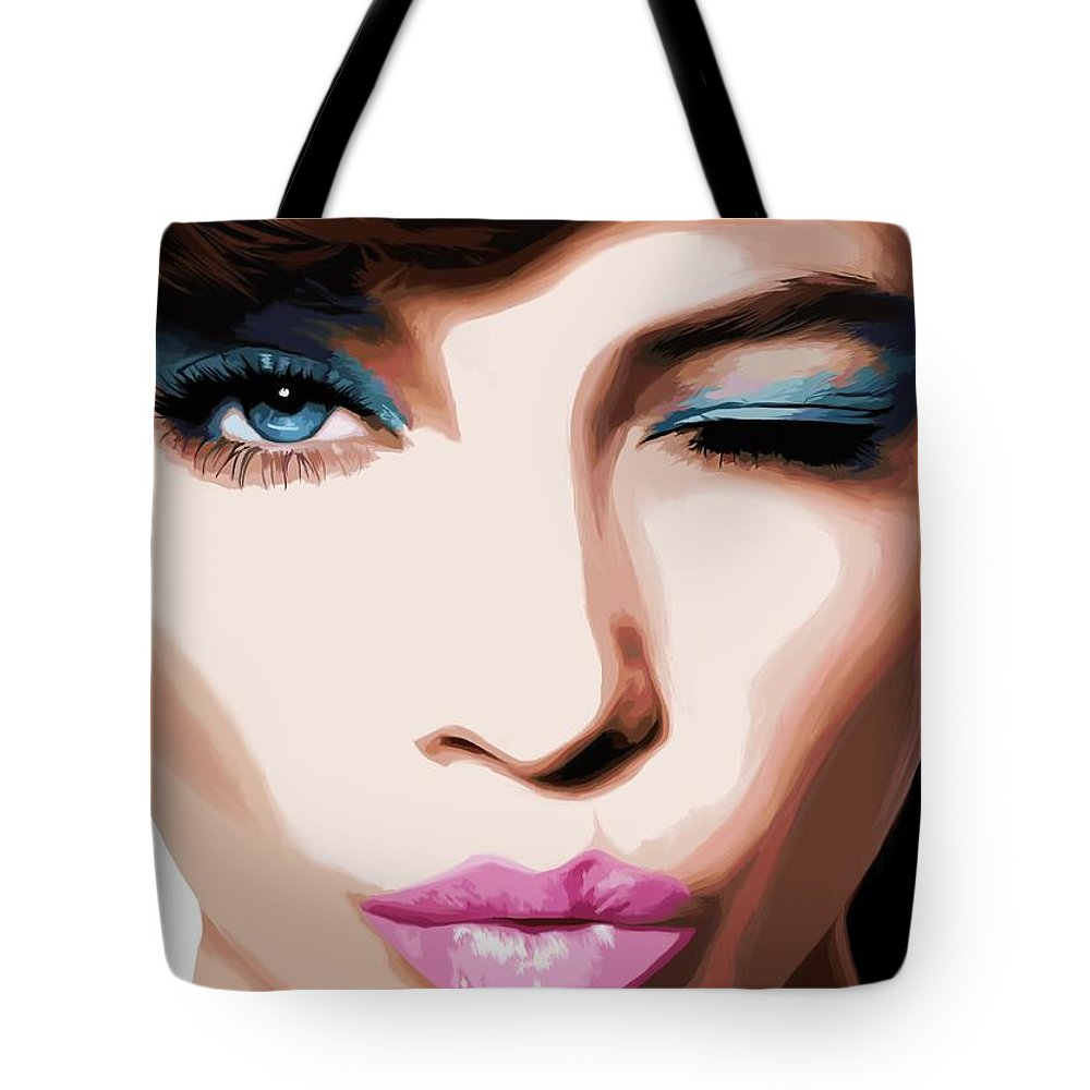 Amazing Girl Tote Bag featuring the digital art Wink - Pretty Faces Series by Gabriel T Toro