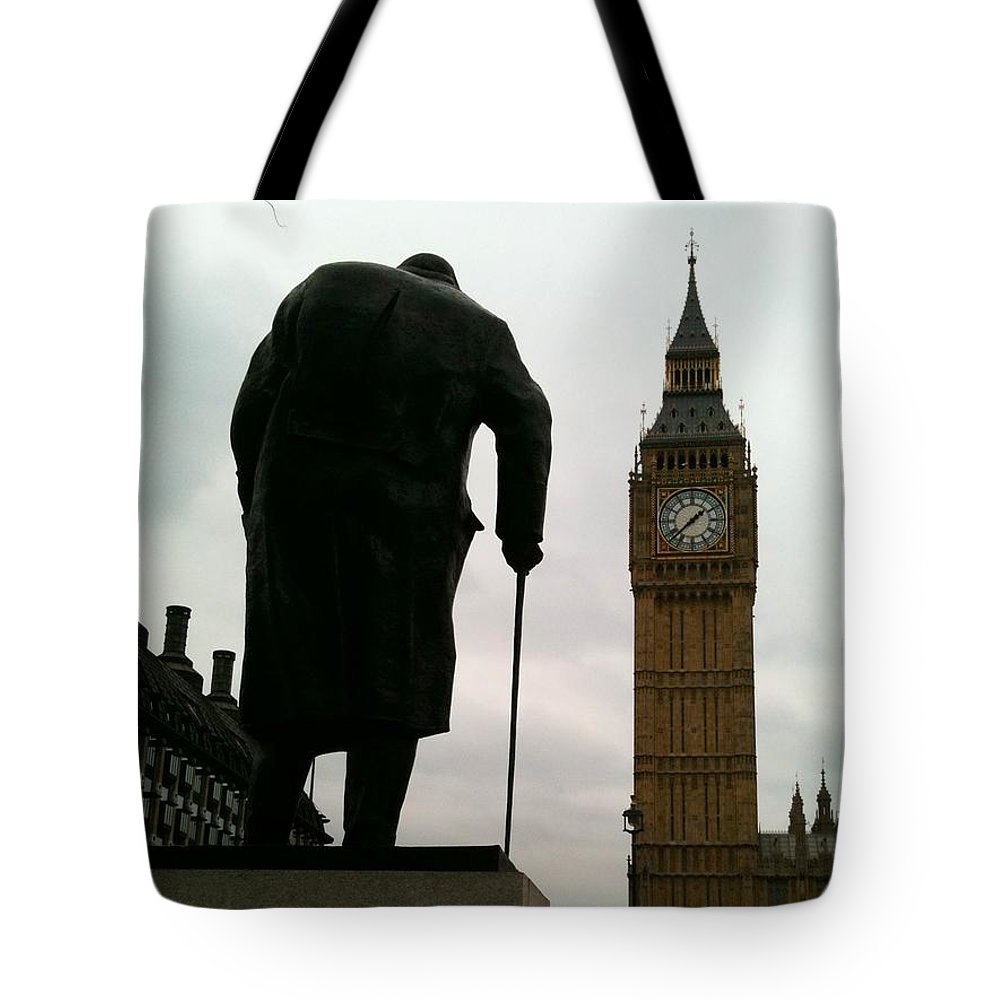 Winston Churchill Tote Bag featuring the photograph Winston Churchill Facing Big Ben by Lois Ivancin Tavaf