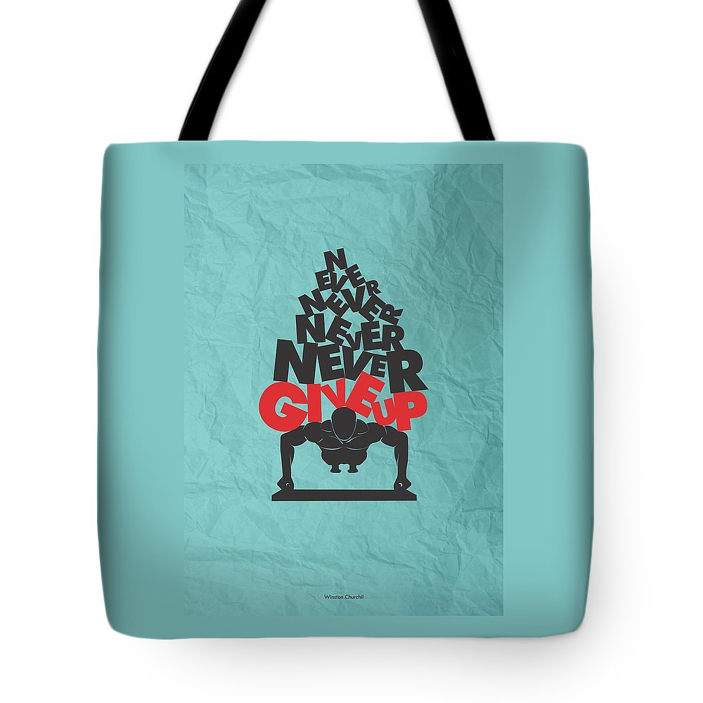 Inspirational Tote Bag featuring the digital art Winston Churchill Quotes poster by Lab No 4 - The Quotography Department