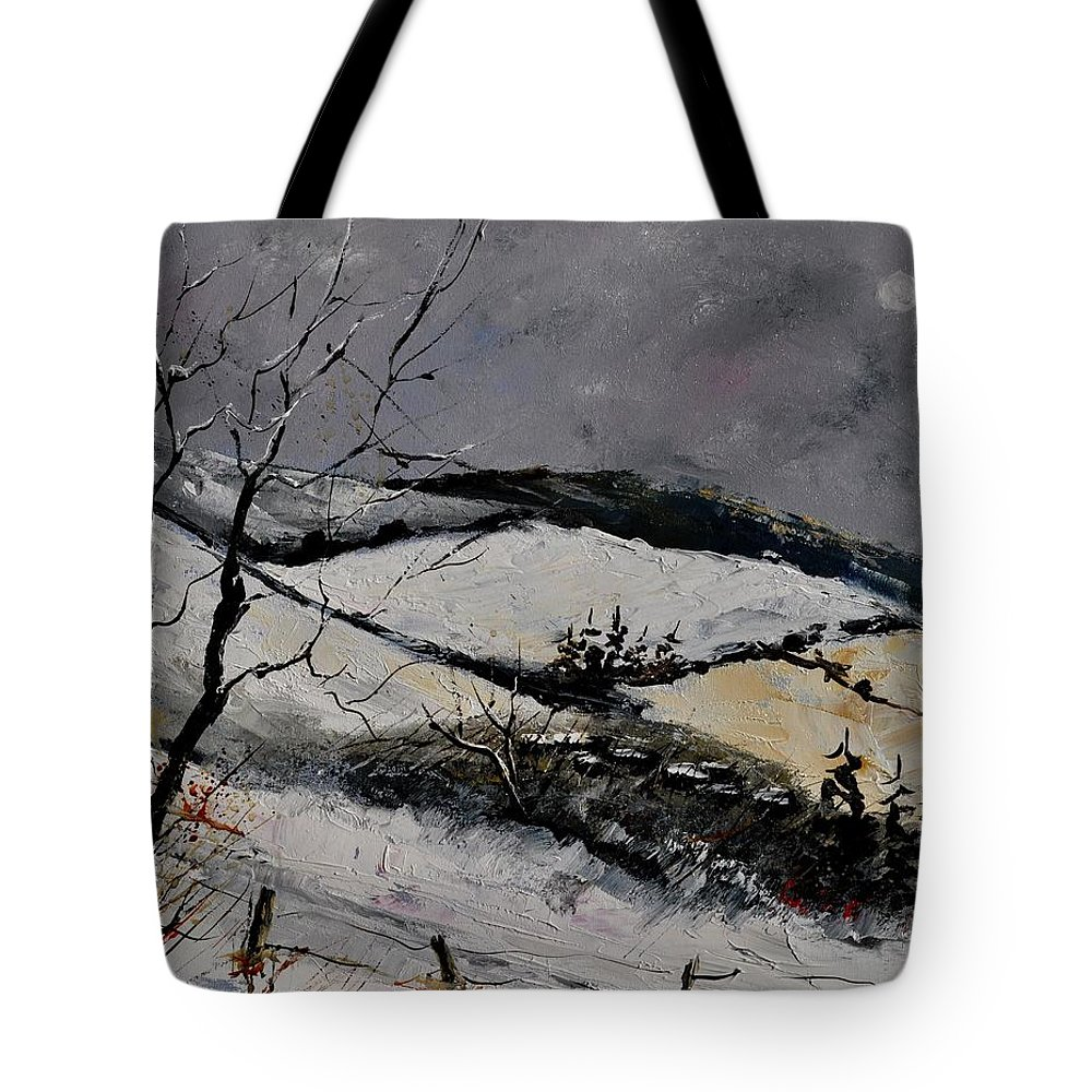 Landscape Tote Bag featuring the painting Winter 4531 by Pol Ledent