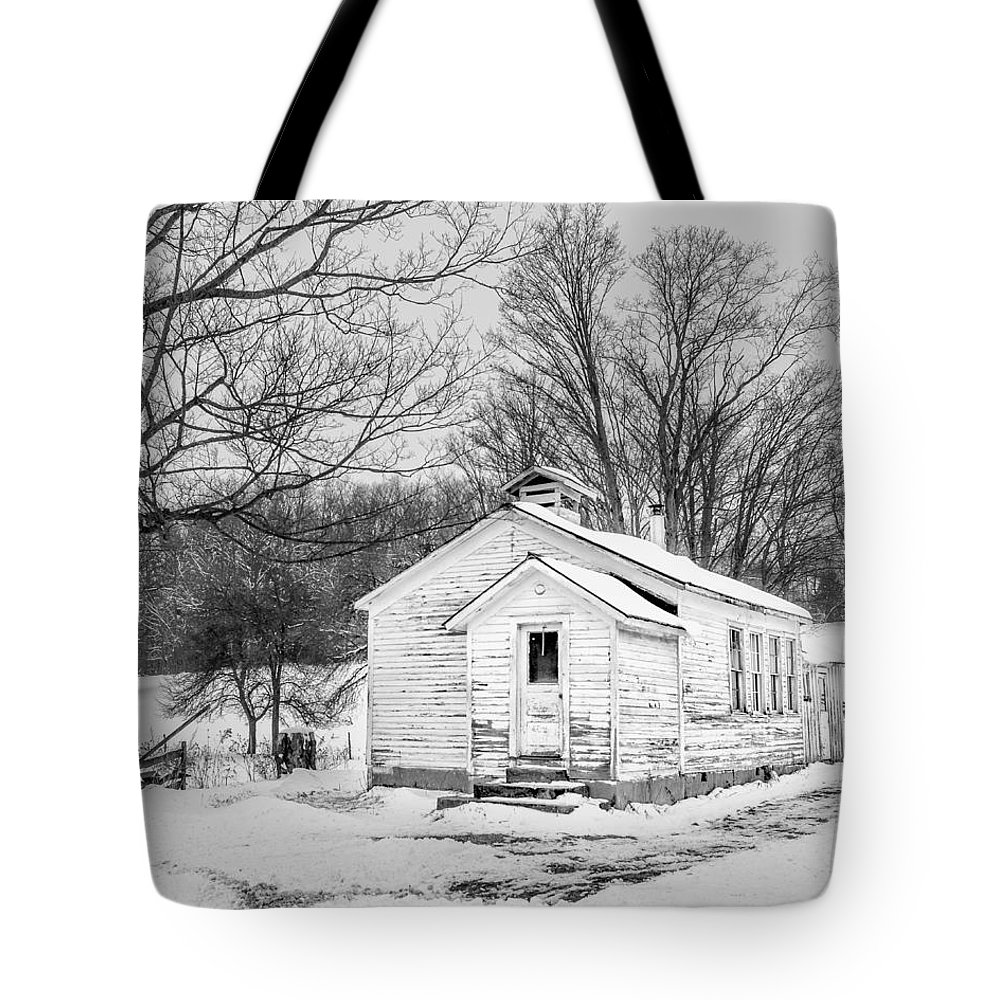 Landscape Tote Bag featuring the photograph Winter At The Amish Schoolhouse - Bw by Chris Bordeleau