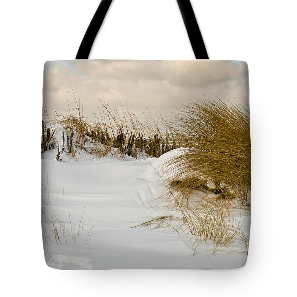 Snowy Beach Tote Bag featuring the photograph Winter At The Beach 3 by Heiko Koehrer-Wagner
