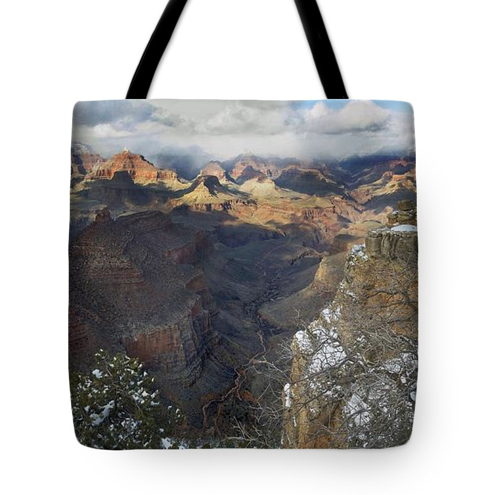 Arizona Tote Bag featuring the photograph Winter At The Grand Canyon by Steve Ondrus