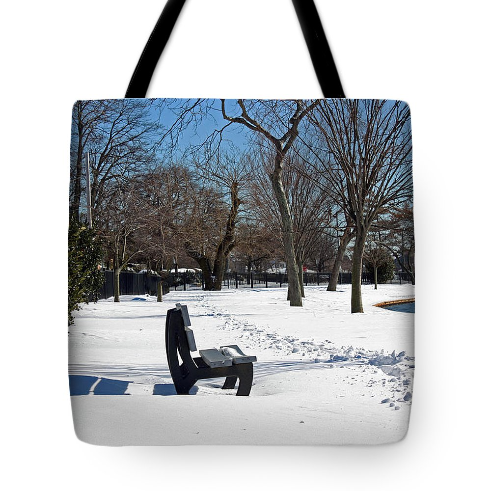 Seasonal Tote Bag featuring the photograph Winter At The Park by Mikki Cucuzzo