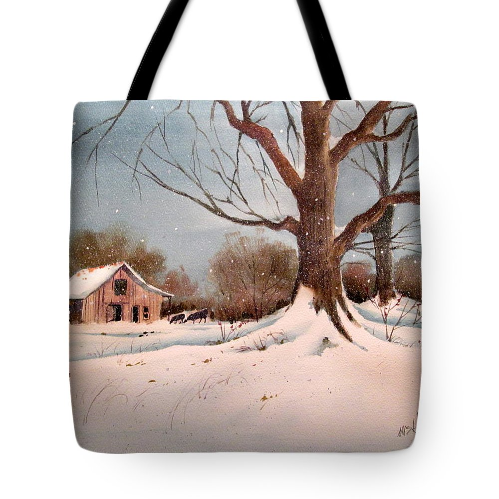 Winter Tote Bag featuring the painting Winter Barn # 5 by Michael Ham