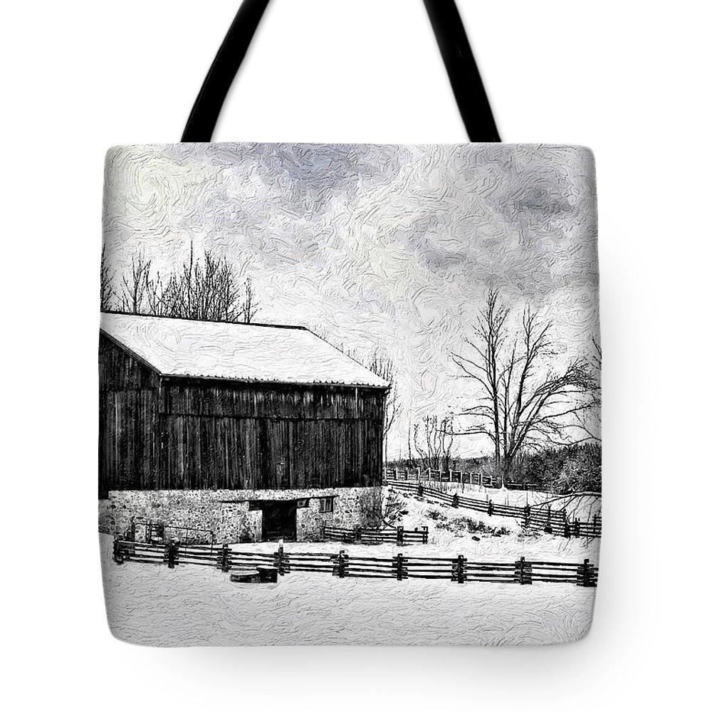Barn Tote Bag featuring the photograph Winter Barn Impasto Version by Steve Harrington