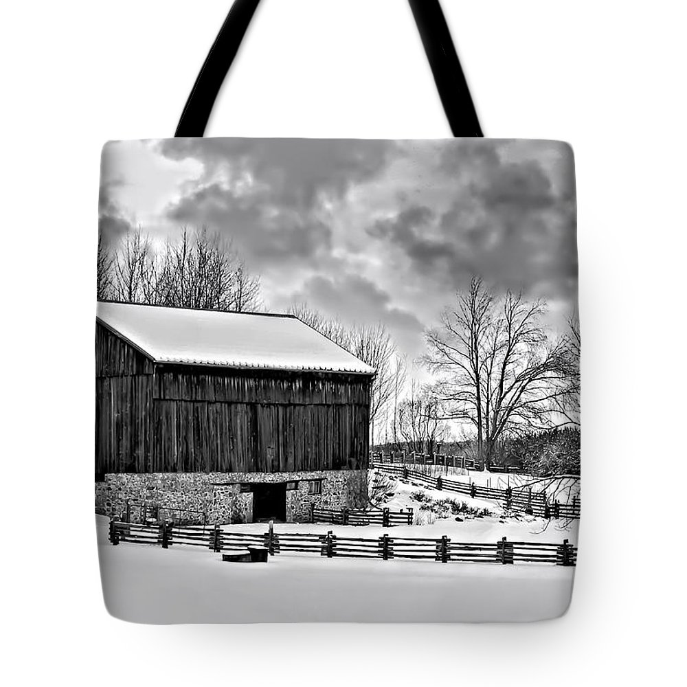 Barn Tote Bag featuring the photograph Winter Barn Monochrome by Steve Harrington