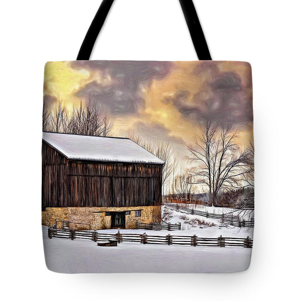 Barn Tote Bag featuring the photograph Winter Barn - Paint by Steve Harrington
