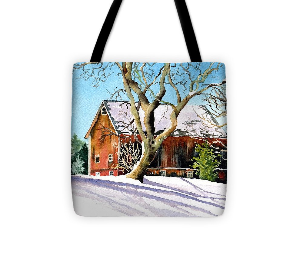 Barn Tote Bag featuring the painting Winter Barn by Tammy Crawford