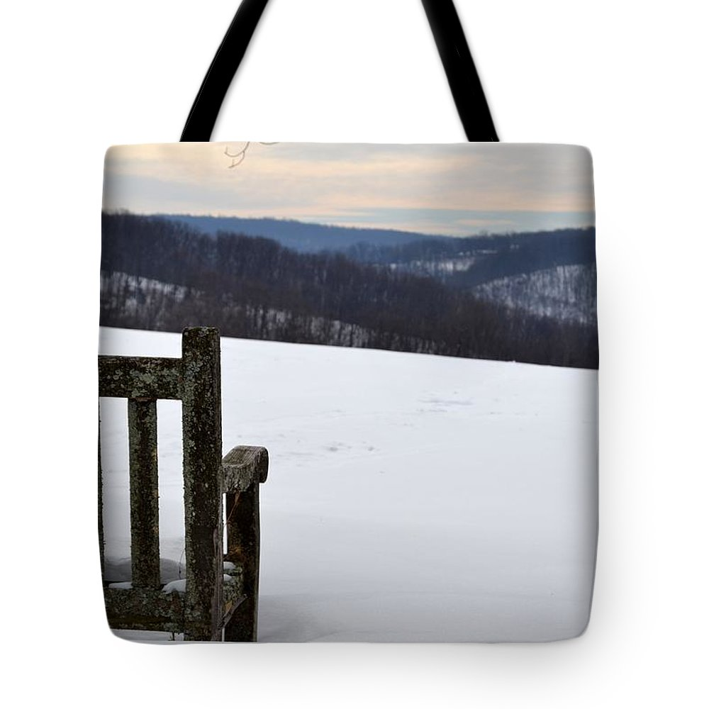 Park Tote Bag featuring the photograph Winter Bench by Kathy McCabe