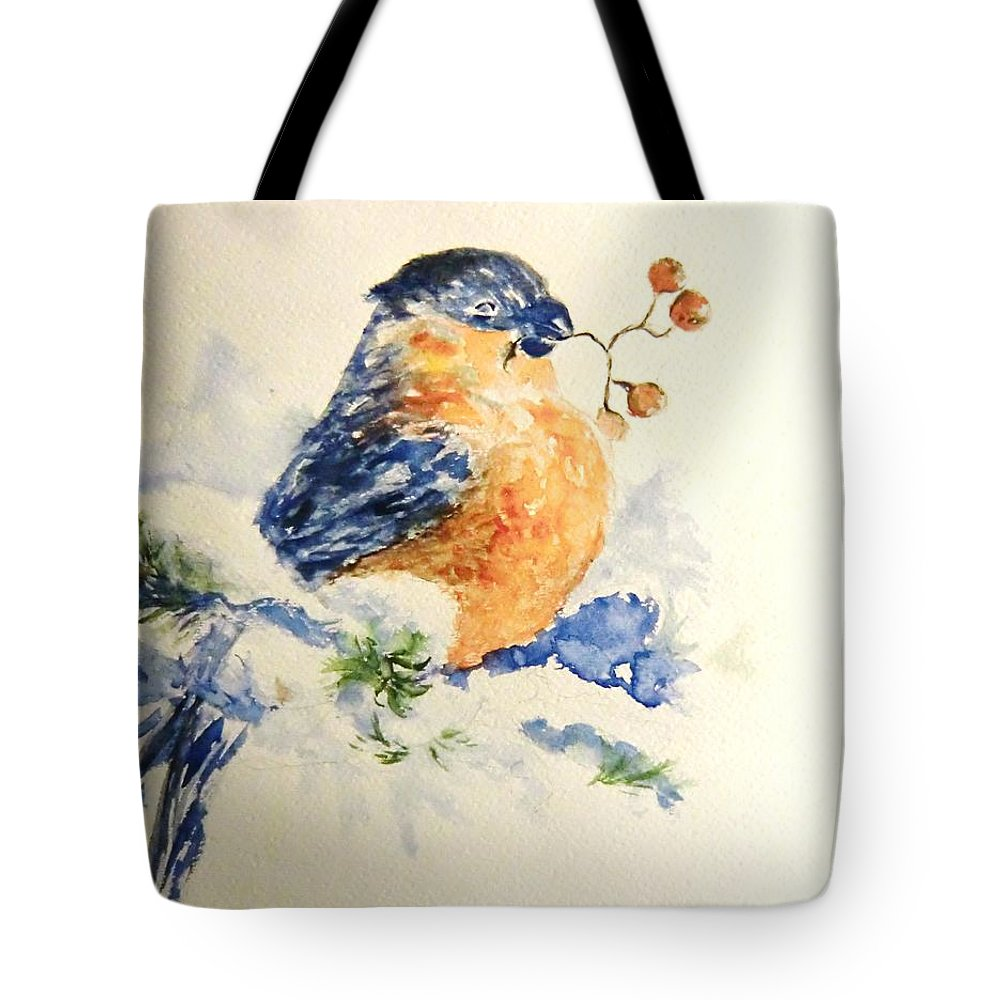 Winter Tote Bag featuring the painting Winter Bird by Liudmila Petarus