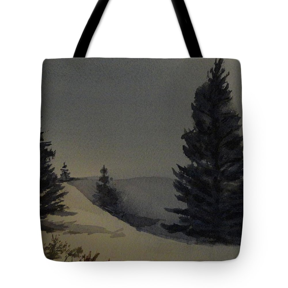 Trees Tote Bag featuring the painting Winter Blues by Betty-Anne McDonald
