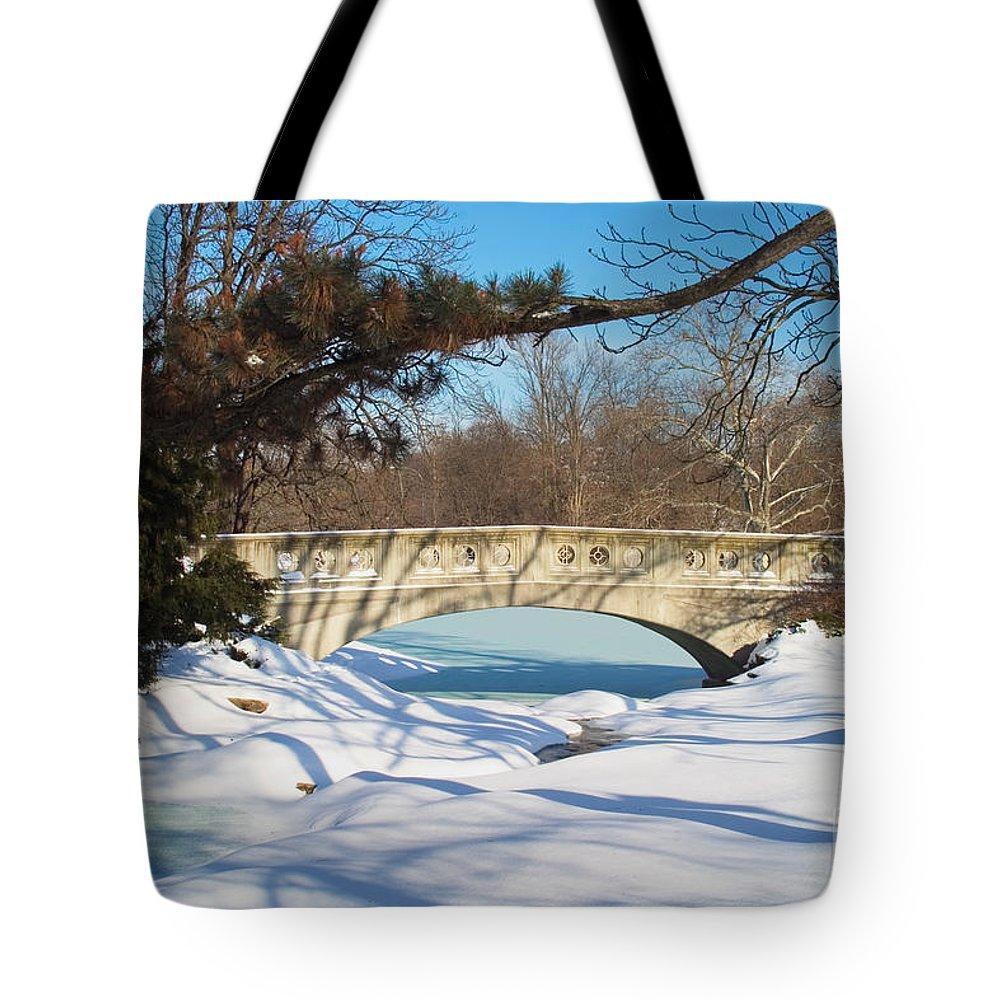Bridge Tote Bag featuring the photograph Winter Bridge by David Davis