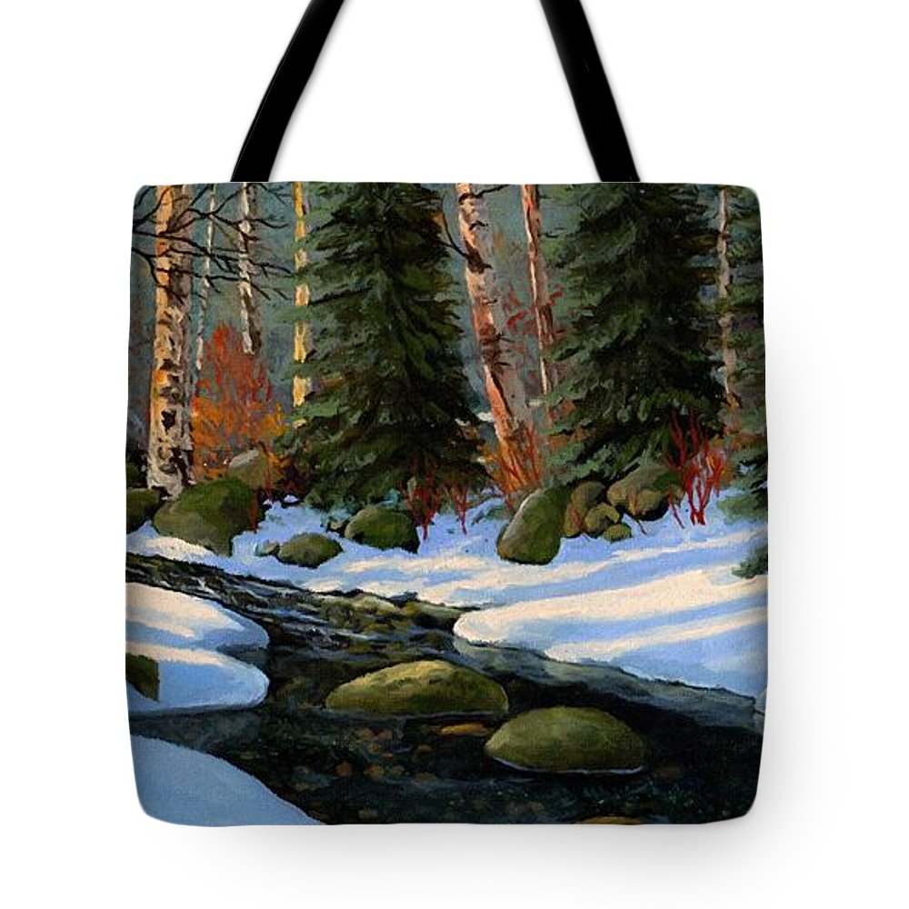 Landscape Tote Bag featuring the painting Winter Brook by Frank Wilson