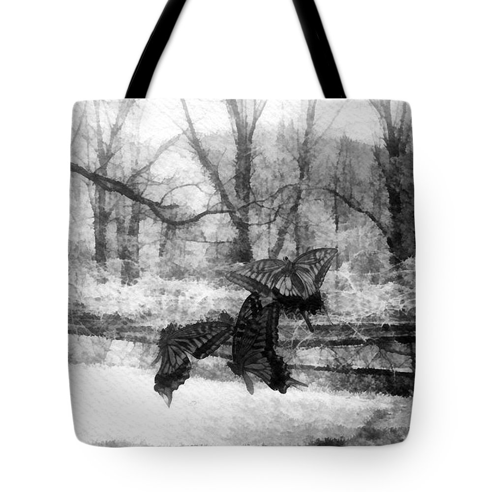 Winter Butterflies Tote Bag featuring the painting Winter Butterflies by Mo T