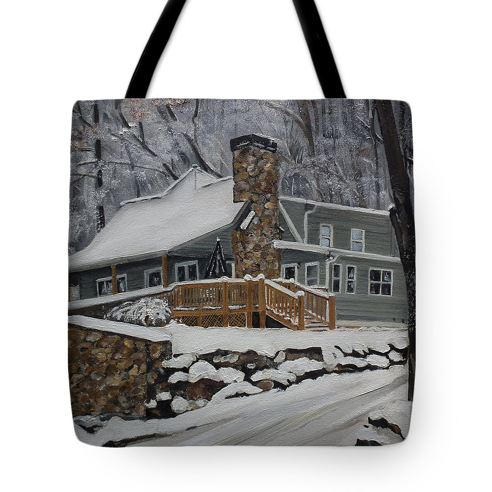 A Cabin In The Woods Tote Bag featuring the painting Winter - Cabin - In The Woods by Jan Dappen
