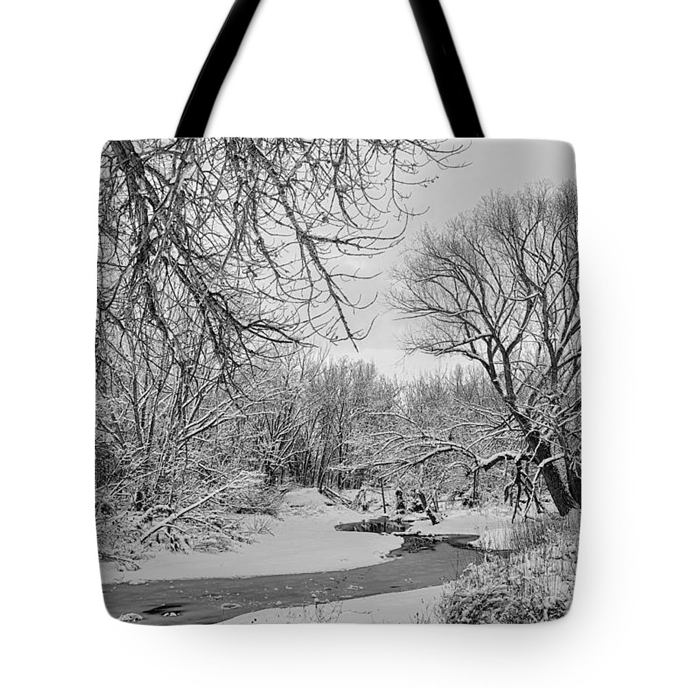 Winter Tote Bag featuring the photograph Winter Creek In Black And White by James BO Insogna