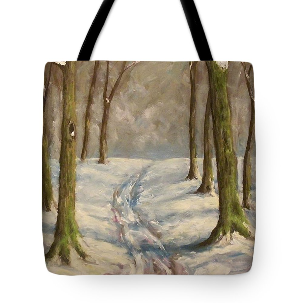 Winter Tote Bag featuring the painting Winter Day by Birgit Schnapp