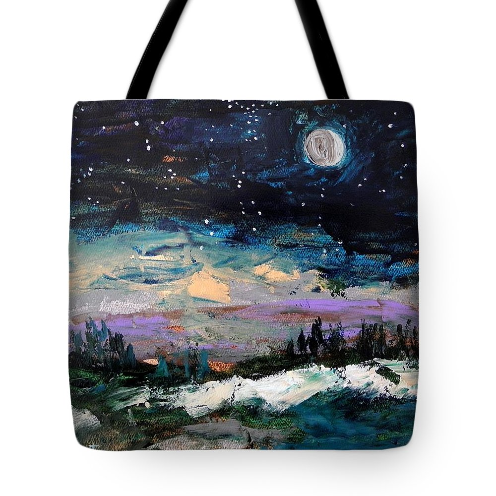 Moon Tote Bag featuring the painting Winter Eclipse by John Williams