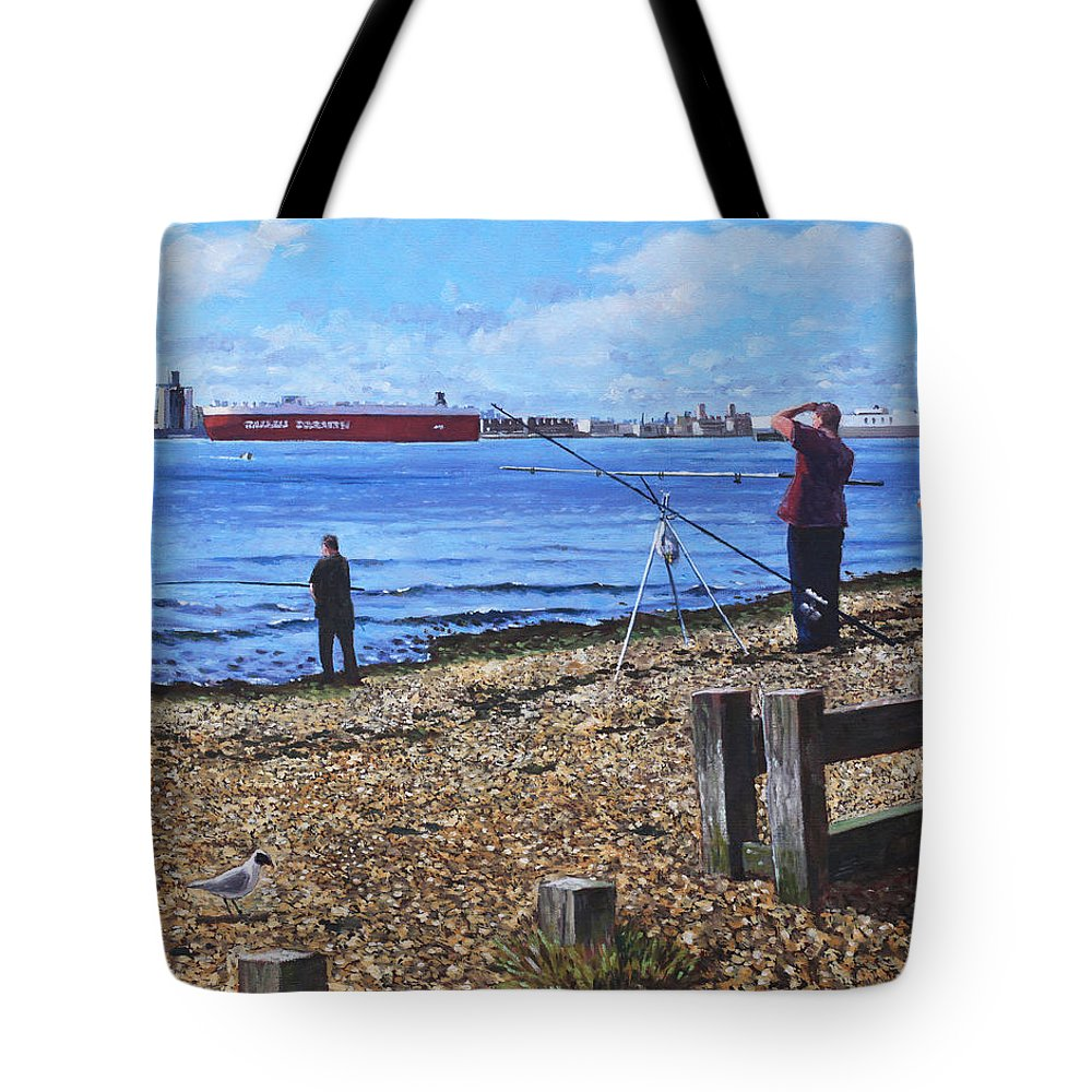 Fishing Tote Bag featuring the painting Winter Fishing At Weston Shore Southampton by Martin Davey