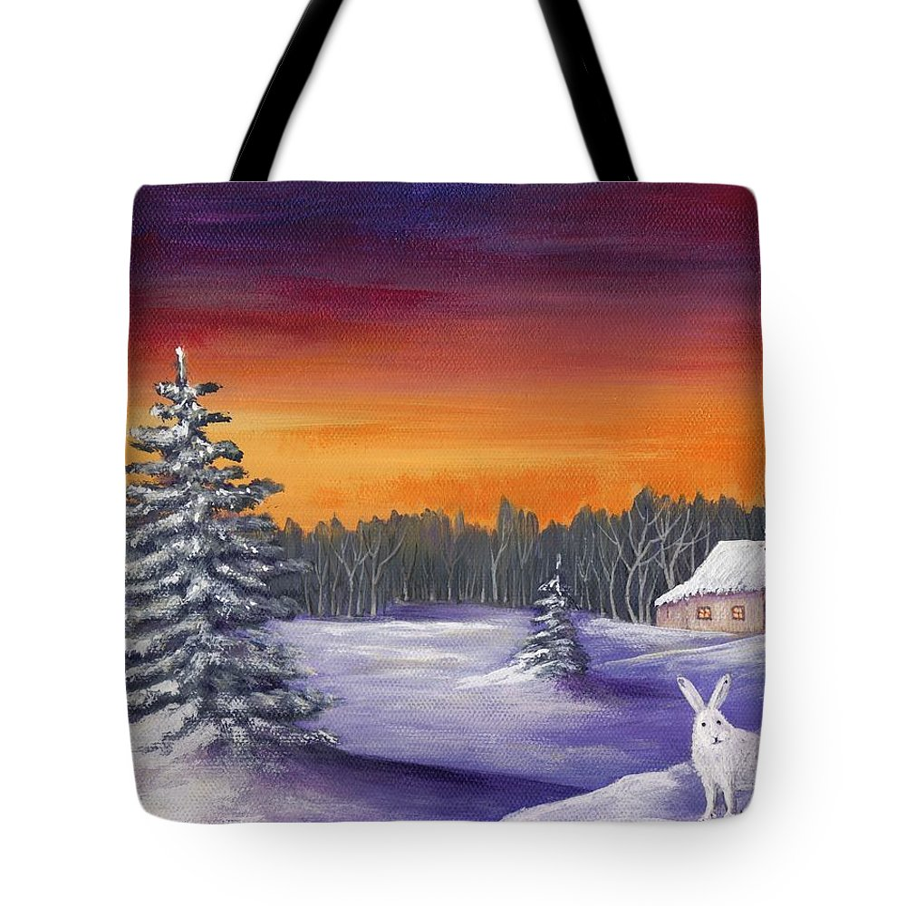 Winter Tote Bag featuring the painting Winter Hare Visit by Anastasiya Malakhova